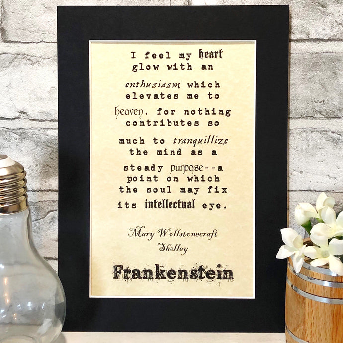 Frankenstein Typography Parchment Print - Nabu Bookish Gifts