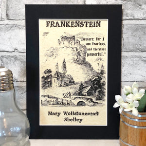 Frankenstein Illustration Parchment Print - Nabu Bookish Gifts