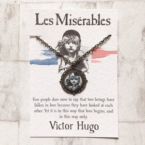 Les Miserables Necklace - Antique Bronze Tone Glass Pendant - Nabu Bookish Gifts
