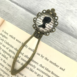 Pride And Prejudice Bookmark - Elizabeth Bennet - Vintage Bronze & Glass - Nabu - Literary Gifts For Book Lovers