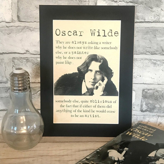 Greeting Card - Oscar Wilde Portrait and Quote 'If you are not too long, I will - Nabu - Literary Gifts For Book Lovers