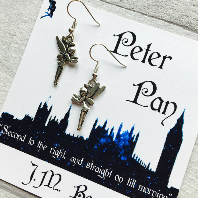 Peter Pan Fairy Earrings - Sterling Silver/Silver Plated - Nabu - Literary Gifts For Book Lovers