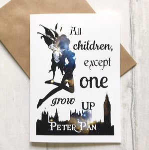 Peter Pan Card - All Children, Except One, Grow Up - Nabu Bookish Gifts | Literary Gifts For Book Lovers