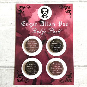 Edgar Allan Poe Badge Pack - Nabu Bookish Gifts