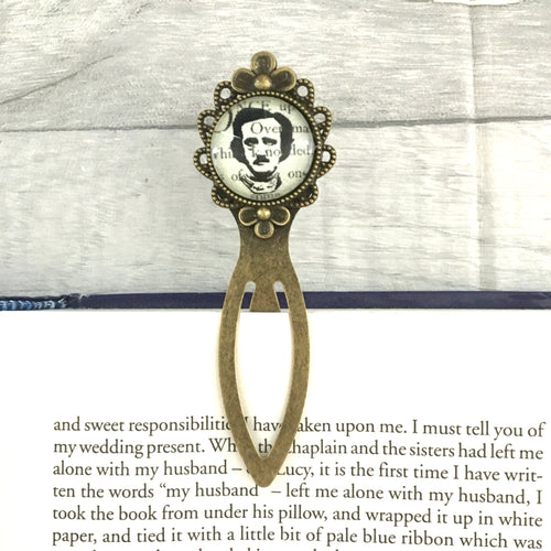 Edgar Allan Poe Bookmark - Portrait - Vintage Bronze & Glass - Nabu - Literary Gifts For Book Lovers