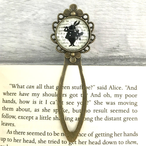 Alice In Wonderland Vintage Bronze & Glass Bookmark - March Hare/White Rabbit - - Nabu - Literary Gifts For Book Lovers
