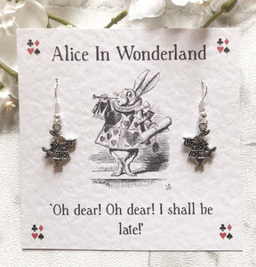 Alice In Wonderland Earrings - White Rabbit - Nabu Bookish Gifts
