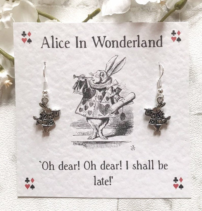 Alice In Wonderland Earrings - White Rabbit - Nabu Bookish Gifts | Literary Gifts For Book Lovers