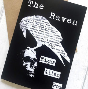 Greeting Card - Edgar Allan Poe 'The Raven' - Literary Gift - Nabu Bookish Gifts