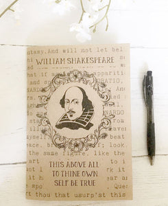 William Shakespeare A5 Notebook - 'To Thine Ownself' - Nabu Bookish Gifts