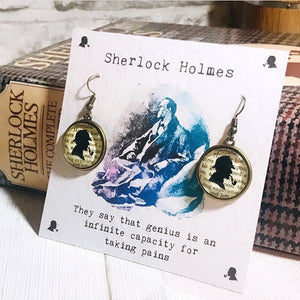 Sherlock Holmes Earrings - Glass Top - Nabu Bookish Gifts