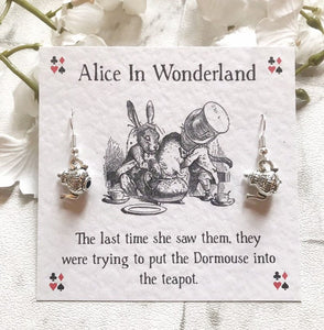 Alice In Wonderland Earrings - Mad Hatters Teapot - Nabu Bookish Gifts