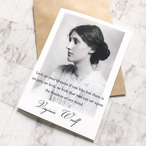 Virginia Woolf Greeting Card - 'Lock Up Your Libraries' - Nabu Bookish Gifts | Literary Gifts For Book Lovers