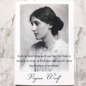 Virginia Woolf Greeting Card - 'Lock Up Your Libraries' - Nabu Bookish Gifts