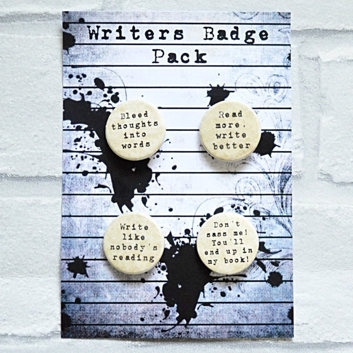 Writers Badges - 4 Pack Parchment Paper - Nabu - Literary Gifts For Book Lovers