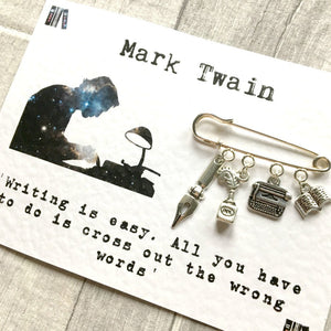 Mark Twain Writers Brooch - Nabu Bookish Gifts | Literary Gifts For Book Lovers