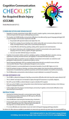CCCABI - Cognitive-Communication Checklist for Acquired Brain Injury - Colour Brochures (Pkg of 25) (Level A)