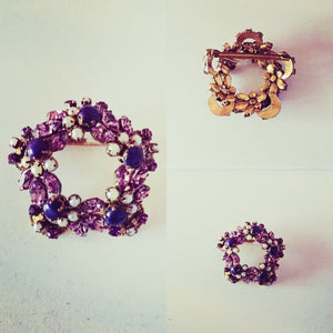 vintage jewellery purple rhinestone brooch pearls and scarlett derby online consignment fifties costume