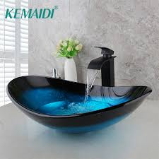 Glass Bathroom Sink with Tap Tempered Glass Hand Painted Wash basin - I want direct