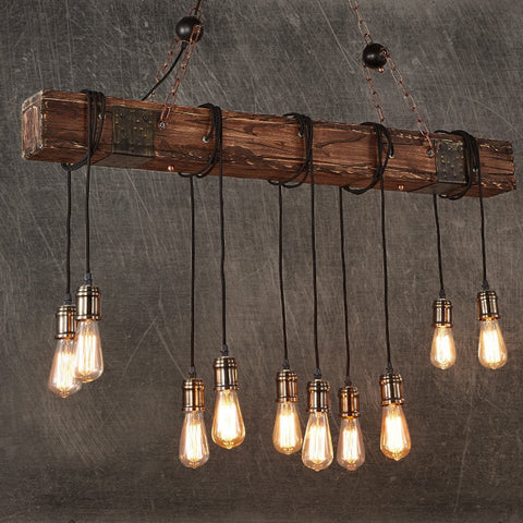 Rustic Wood Hanging Multi Pendant Edison Beam 10 Light E26/E27 Bulb 400W Painted Farmhouse Industrial Style Home Lighting - I want direct