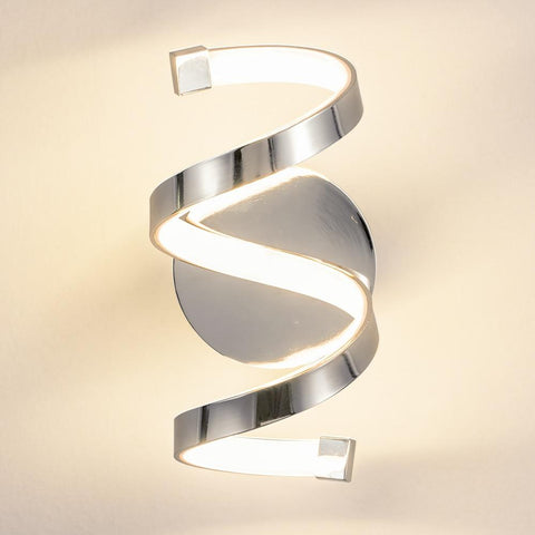 18W Modern Wall Lights For Home Spiral Design Silver LED warm white.
