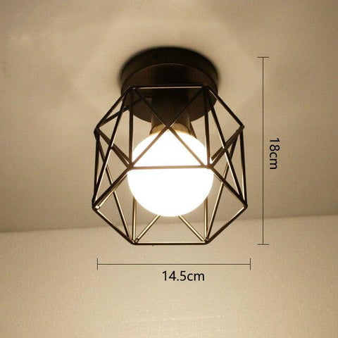 Vintage Black Iron Cage Led Ceiling Lamp Nordic Metal Light for Kitchen Bedroom Balcony Asile Bar E27 Ceiling Light Fixture.