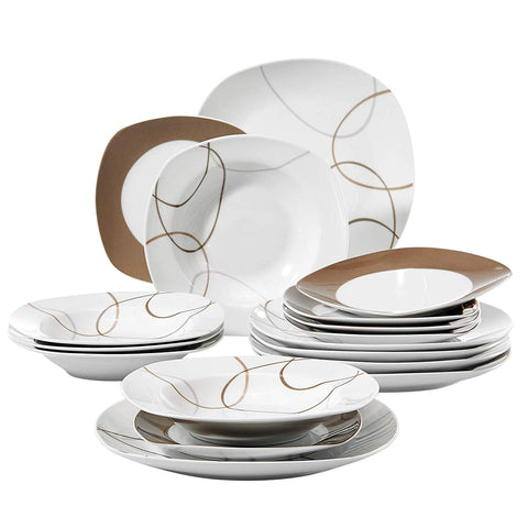 Dinner Tableware Set with Dinner Plate,Dessert Plate,Deep Soup Plate 18 piece - I want direct