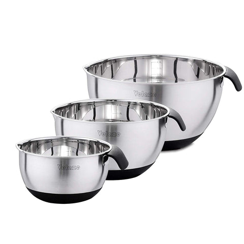 3-Piece Stainless Steel Bowl Set Non Slip Mixing Bowls with Measuring Marking,Pouring Spouts and Handles(1.5L,3L,5L)