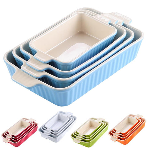 4-Piece ceramic Baking Dish Plate Set Ideal for Lasagne Pie Casserole - I want direct