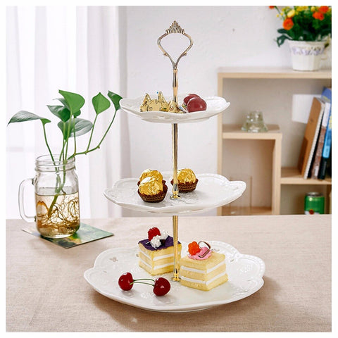 "3 Tiered cake stand Ceramic Cake Tower Stand, 14.5"" Tall Porcelain afternoon tea server with Carry Handle - I want direct"