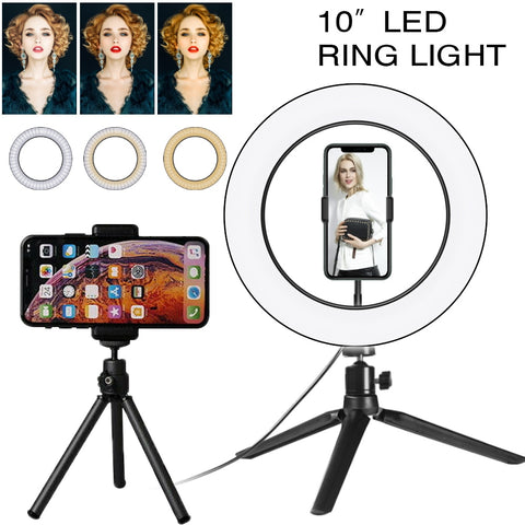 Desktop Ring Light with 2 tripods 10 Inch Dimmable lamp with phone holder