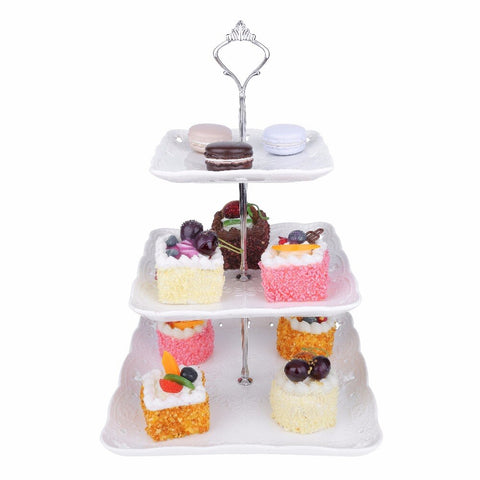 "3 Tier White Dessert Cake Stand 14.5"" Tall - I want direct"