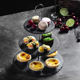 3 tier slate cake stand natural slate design black - I want direct