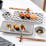 Japanese Style Porcelain Sushi Plate Set with 2*Sushi Plates,Dipping Dishes,2 Pairs of Bamboo Chopsticks - I want direct