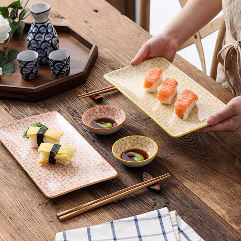 Japanese Style Porcelain Sushi Plate Set with 2*Sushi Plates,Dipping Dishes,2 Pairs of Bamboo Chopsticks Gift - I want direct