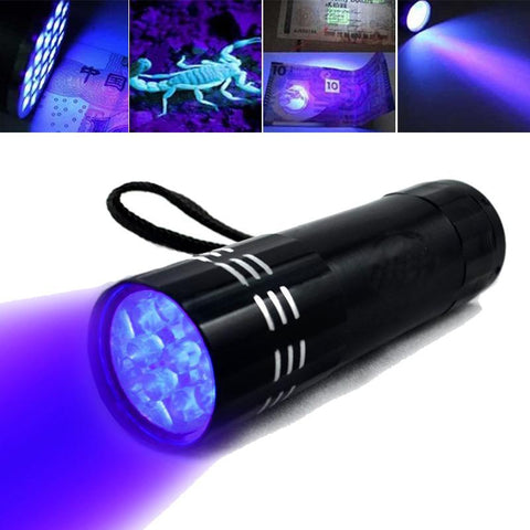 Mini 9 LED Ultraviolet UV forensic Flashlight led torch Ultraviolet Invisible Ink Marker Light Detection Torch 3AAA UV lamp.