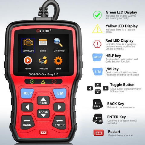 Vident iEasy310 Enhanced OBDII/EOBD+CAN Code Reader with Battery Test Function.