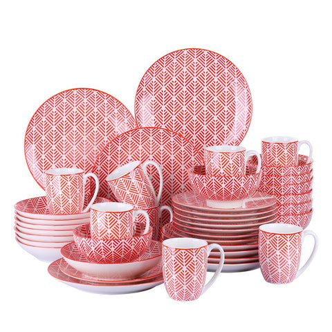 20/40-Piece Japanese Style Porcelain Dinnerware Set with Dinner Plate,Soup Plate,Dessert Plate,Bowl,Mug Set - I want direct