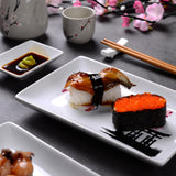 Japanese Style Flower Porcelain Sushi Plate Set with 2X Sushi Plates,Dip Dishes,Stick Stand,Bamboo Chopsticks - I want direct