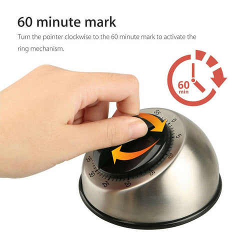 Mechanical 60 Minutes Stainless Steel Kitchen Timer no batteries required - I want direct