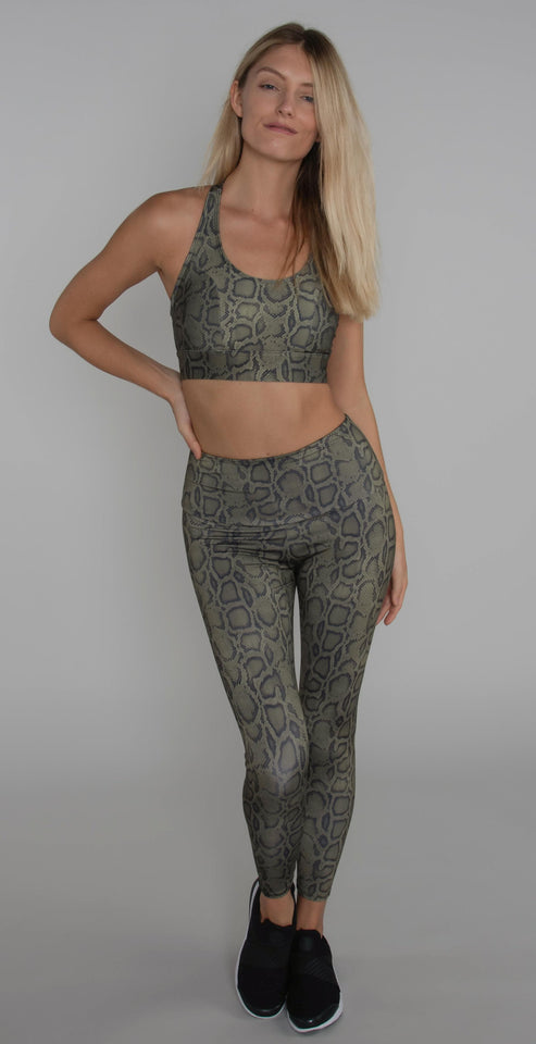 Onzie High Basic Midi Legging Olive Cobra