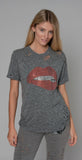 Lauren Moshi Capri Crystal Lip Short Sleeve Vintage Tee Heather Gray