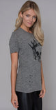 Lauren Moshi Capri Royal Skull Vintage Tee Heather Gray