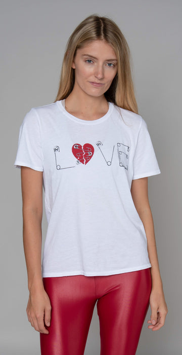 Lauren Moshi Croft Safety Pin Heart Vintage Tee White