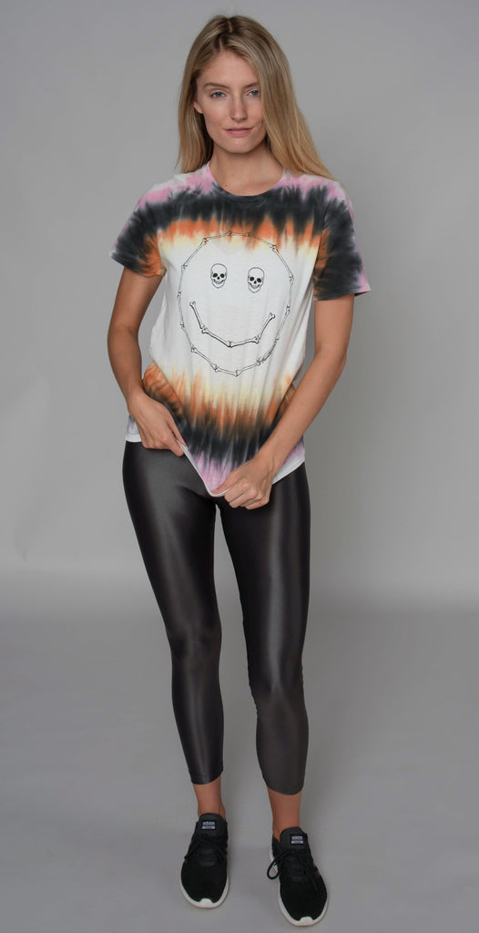 Lauren Moshi Croft Skull Happy Face Vintage Tee Campfire