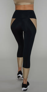 Onzie Athletic Midi Legging Black Shiny Taupe