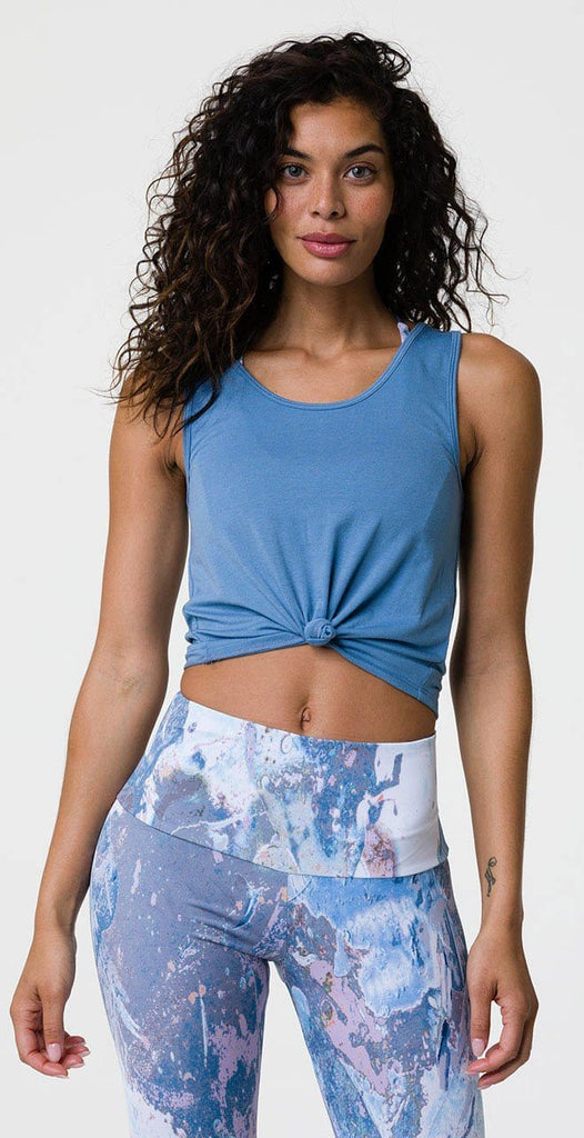Onzie Knot Crop Top Pewter Blue