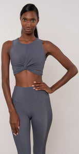 Onzie Front Twist Crop Top Slate Gray Rib