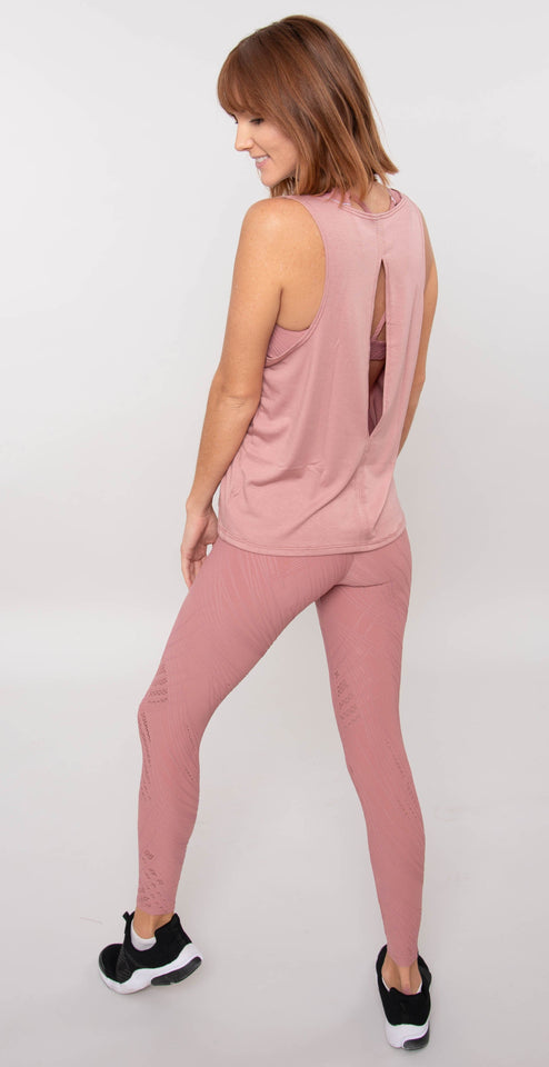 Onzie Slit Back Tank Ash Rose