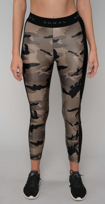 Koral Emblem High Rise Cropped Legging Camo Black